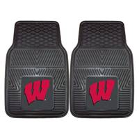 FANMATS University of Wisconsin Badgers Black 2-Piece Vinyl Car Mat Set from Blain's Farm and Fleet