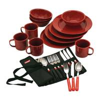 Coleman 24 Piece Red Speckled Enamelware Dining Kit from Blain's Farm and Fleet
