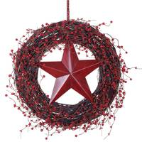 Transpac Imports Inc. Red Berry Star Wreath from Blain's Farm and Fleet