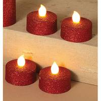 Gerson International Red Battery Operated Value LED Tea Lights with Glitter from Blain's Farm and Fleet
