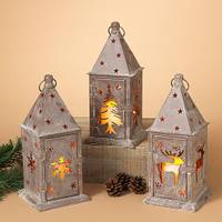 Gerson International Metal Winter Lodge Lantern with Candle Assortment from Blain's Farm and Fleet