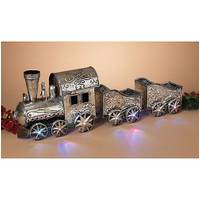 Gerson International Battery Operated Lighted Musical Silver Metal Holiday Train from Blain's Farm and Fleet