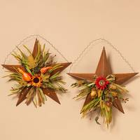 Gerson International Metal Hanging Star with Harvest Floral Assortment from Blain's Farm and Fleet