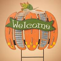 Gerson International Wood Welcome Pumpkin Yard Stake from Blain's Farm and Fleet