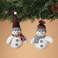 Gerson International Plush White Snowman Ornament Assortment from Blain's Farm and Fleet