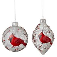 Midwest-CBK Snowy Cardinal Glass Ornament Assortment from Blain's Farm and Fleet