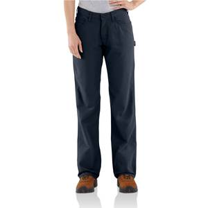 Carhartt Women's Dark Navy Flame - Resistant Relaxed Fit Midweight Canvas Jeans