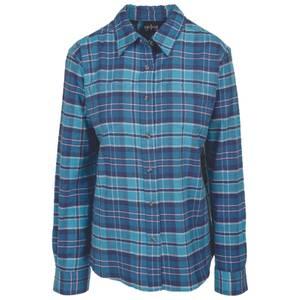 CG | CG Misses Teal & Blue Stretch Flannel Plaid Shirt