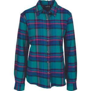 CG | CG Misses Gray & Magenta Stretch Flannel Plaid Shirt