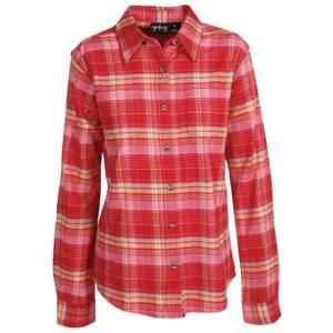 CG | CG Misses Brick & Pink Stretch Flannel Plaid Shirt
