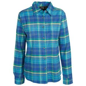 CG | CG Women's Dark Blue Stretch Flannel Plaid Shirt