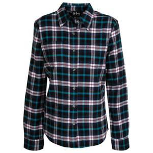 CG | CG Women's Navy Blue & Turquoise Stretch Flannel Plaid Shirt