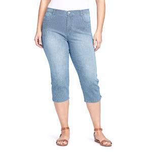49fd9af5928 Gloria Vanderbilt Women  39 s Plus Size Amanda Stripe Capri Pants