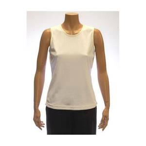 ALIA Petite White Sleeveless Microfine Rib Knit Shell