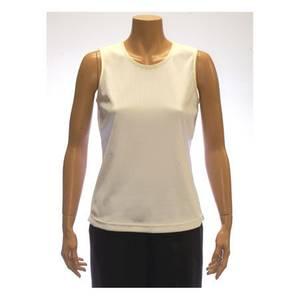 ALIA Misses White Sleeveless Microfine Rib Knit Shell