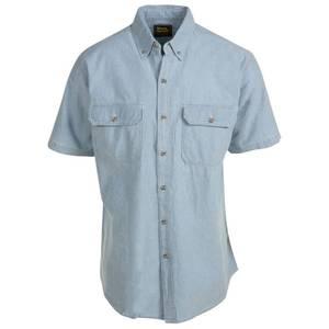 Work n 39 sport big tall men 39 s bleach blue short sleeve for Tall mens work shirts