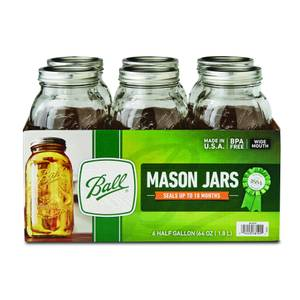 Ball Wide Mouth 1/2 Gallon Mason Jars 6 Pack