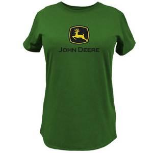 John Deere Misses Green Glitter Logo T-Shirt