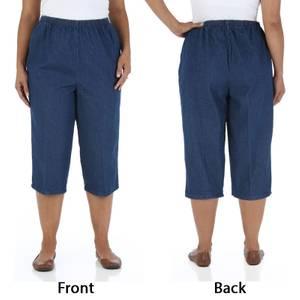 Chic Women's Blue Original Stone Denim Scooter Capri Pants