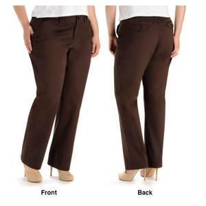 Lee Women's Coffee Comfort Waist Carden Straight Leg Pants