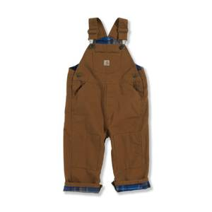 Carhartt Toddler Boy's Brown Flannel Lined Canvas Bib Overalls