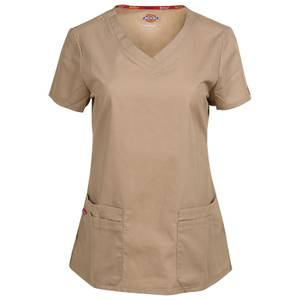 Dickies Misses Khaki V-Neck Scrubs Top