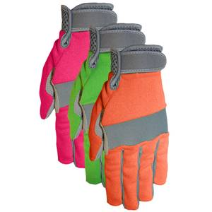 MidWest Gloves Women's Synthetic Palm Spandex Back Glove Assortment