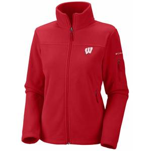 Columbia Sportswear Company Misses Bright Red Wisconsin Badgers Give & Go Full Zip Fleece Jacket
