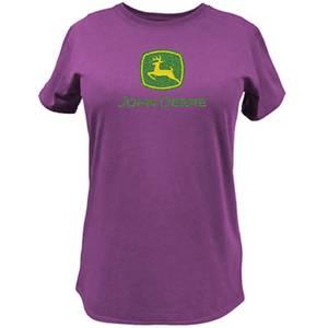 John Deere Misses Fuchsia Glitter Logo T-Shirt