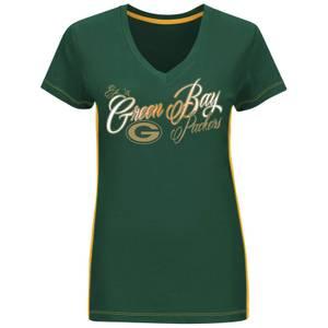 NFL Misses Green & Gold Green Bay Packers Short Sleeve V-Neck T-Shirt