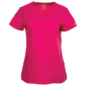 Dickies Misses Hot Pink V-Neck Scrubs Top