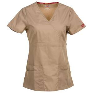 Dickies Misses Khaki Mock Wrap Scrub Top