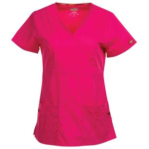 Dickies Misses Hot Pink Mock Wrap Scrubs Top