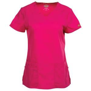 Dickies Women's Hot Pink V-Neck Scrubs Top