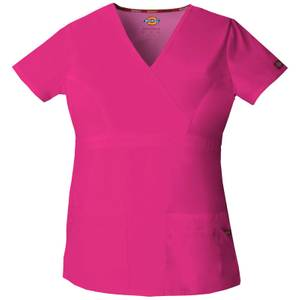 Dickies Women's Hot Pink Mock Wrap Top