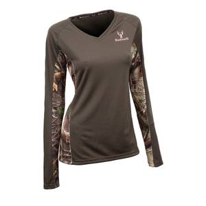 Huntworth Misses Green & Oak Tree EVO Long Sleeve V-Neck Shirt