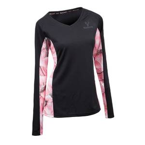 Huntworth Misses Black & Pink Camouflage Long Sleeve V-Neck Shirt