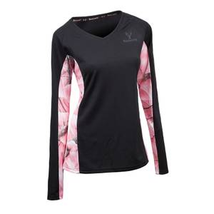 Huntworth Women's Black & Pink Camouflage Long Sleeve V-Neck Shirt