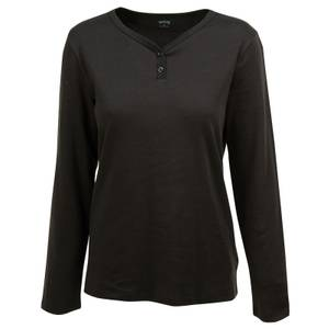 CG | CG Women's Black Calliope Long Sleeve V Neck Henley