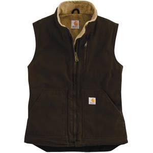 Carhartt Misses Sherpa Lined Dark Brown Sandstone Mock Neck Vest