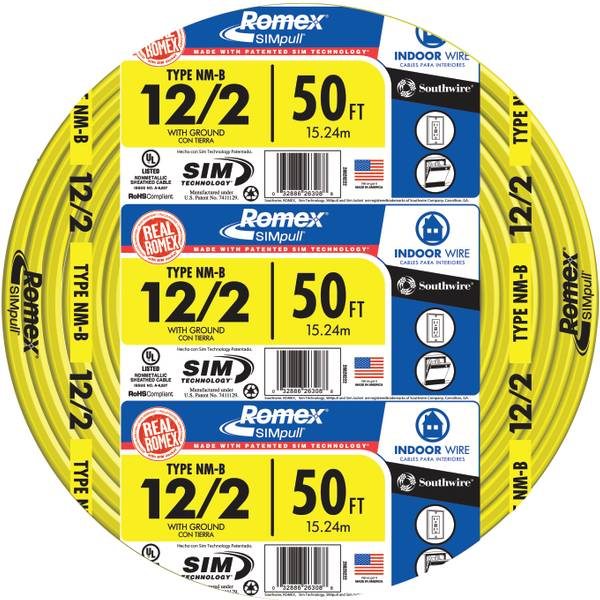 Southwire Romex Simpull Nm B 12 2 Indoor Wire With Ground