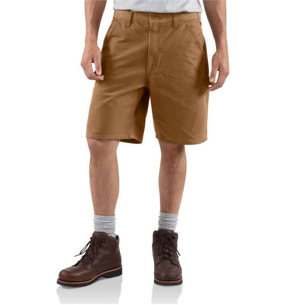 Men's Brown Washed Duck Work Shorts