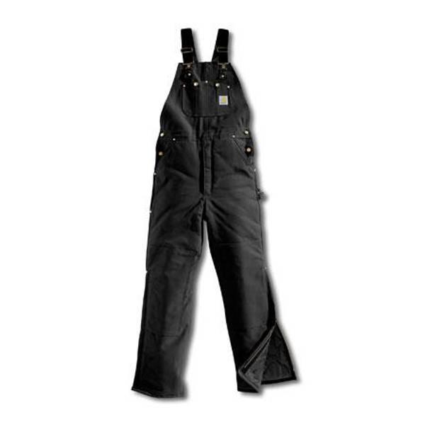 Men's Black Arctic Quilt Lined Duck Bib Overalls