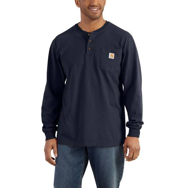 Men's Navy Long Sleeve Workwear Henley