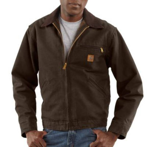 Big Men's Dark Brown Sandstone Blanket Lined Detroit Jacket