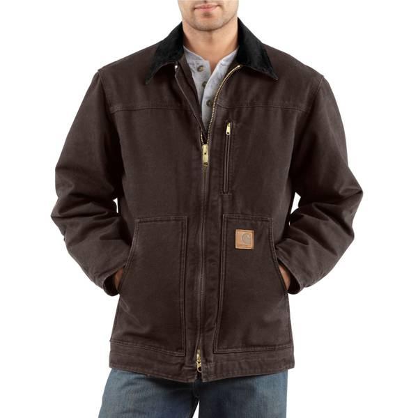 Big Men's Dark Brown Sherpa-Lined Sandstone Ridge Coat