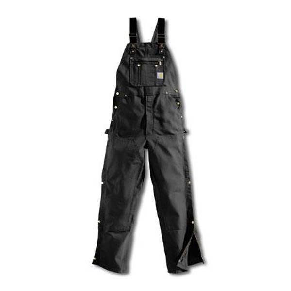 Men's Black Duck Zip-to-Thigh Bib Overalls