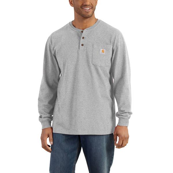 Men's Heather Gray Long Sleeve Workwear Henley heather gray