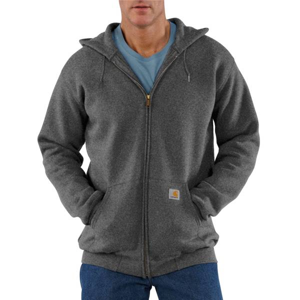 Big Men's Charcoal Heather Midweight Hooded Zip-Front Sweatshirt