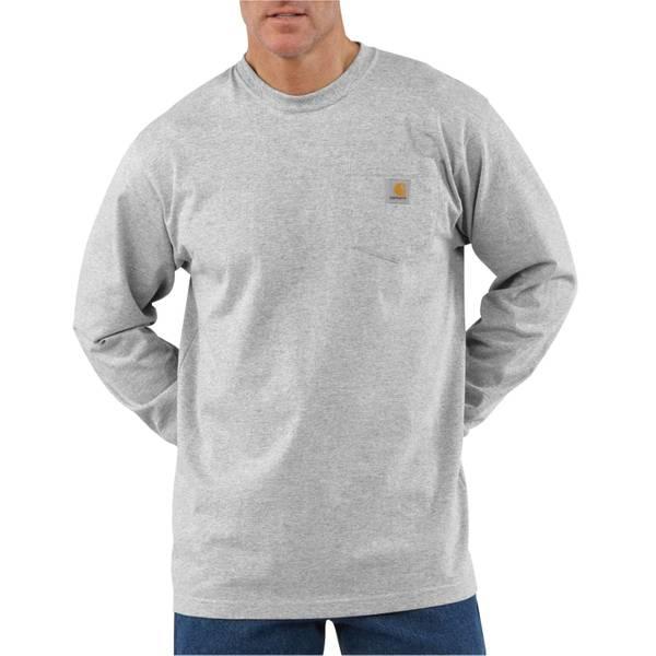 Men's Heather Gray Long Sleeve Workwear Pocket T-Shirt